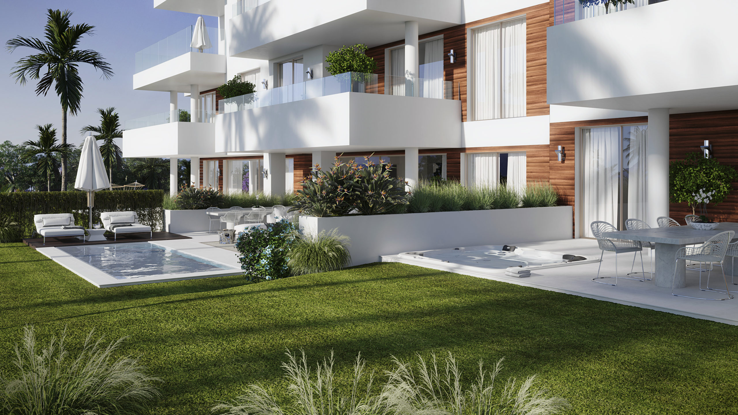 Garden apartment with swimming pool